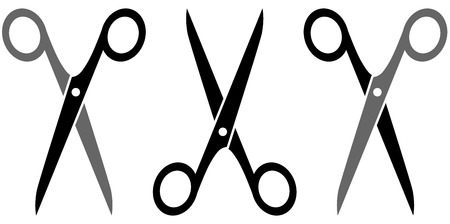 set isolated scissors silhouette on white background Vector