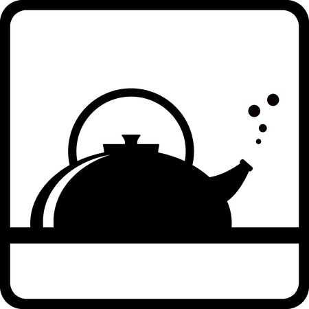 icon with black kettle silhouette – tea menu background Vector