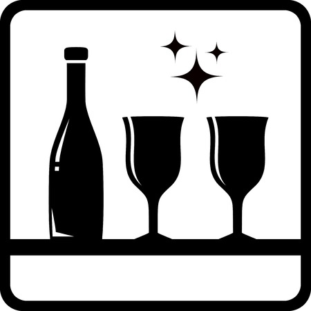 icon with bottle and wine glass silhouette drink menu background Vector