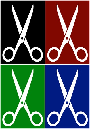vector set with scissors on colorful backgrounds Vector
