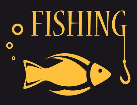 angling rod: black background for fishing equipment with fish, rod and hook Illustration