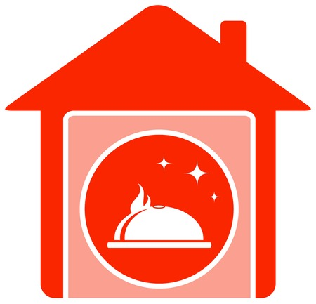 red home food symbol with house and dish Vector