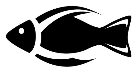 black aquarium symbol - isolated icon with fish silhouette Vector