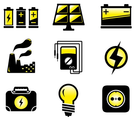 alternating current: glossy set with isolated electrical equipment objects