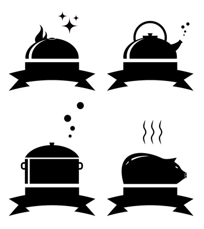 set black icons with restaurant objects and ribbon Vector