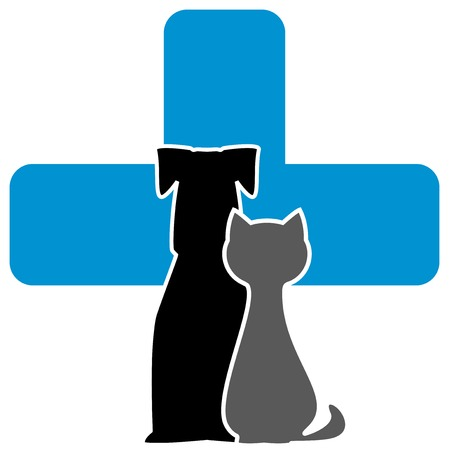 cat call: Icona cure veterinarie con la croce, cane e gatto Vettoriali