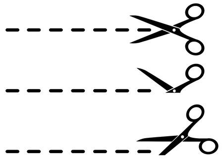 3 つの黒い鋏とカットラインが白の背景に設定