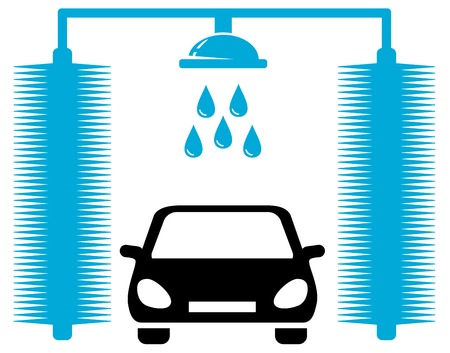 automatic doors: car wash icon - transport clean company symbol