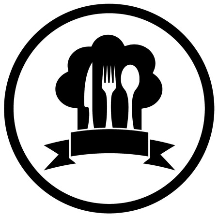 commercial kitchen: chef hat icon with kitchen ware utensil