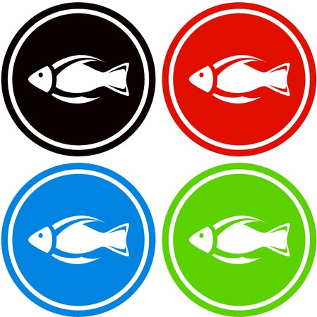 subaqueous: set colorful fish icon for aquarium industry Illustration