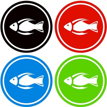 set colorful fish icon for aquarium industry Illustration