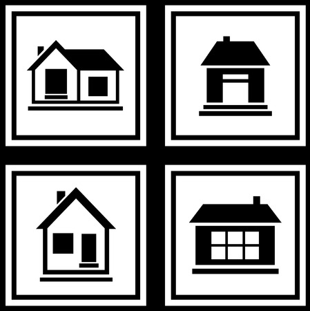 set collection house silhouette on white background icons Vector