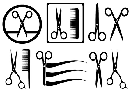 haircare: set scissors icons with comb for hair salon