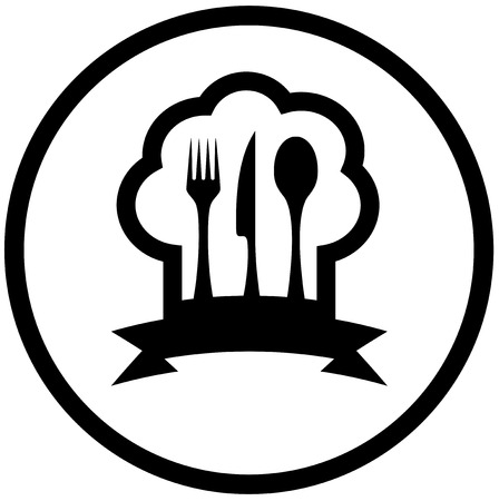 round food icon with chef hat and kitchen utensil silhouette Vector