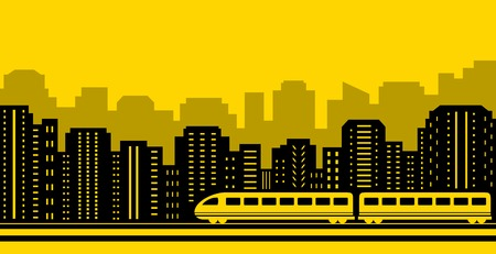 fare: yellow background passenger train on black city silhouette