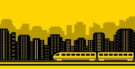 thoroughfare: yellow background passenger train on black city silhouette