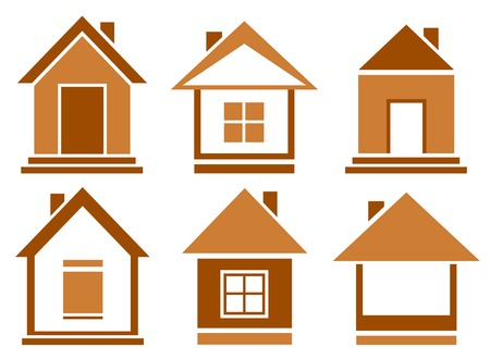 isolated set brown house icons on white background Vector
