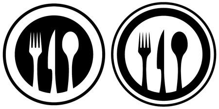 set in bianco e nero icona cibo con utensili da cucina silhouette Vettoriali