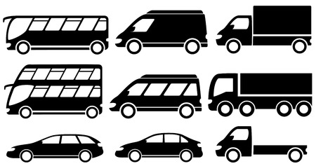 set black isolated transport icons for cargo or passenger services Vector