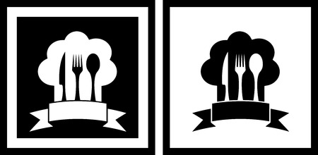set restaurant symbols with chef hat and kitchen utensil Vector
