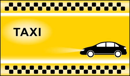 yellow taxi background with black cab and taxi symbol light Illustration