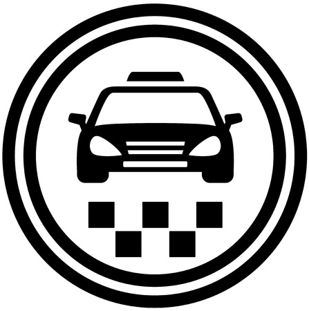 black taxi round icon - passenger transport symbol Vector