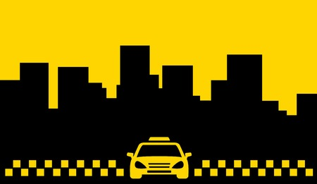 yellow taxi backdrop - transport background with cab and place for text Vector