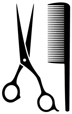 styling: isolated scissors and comb black silhouette on white background