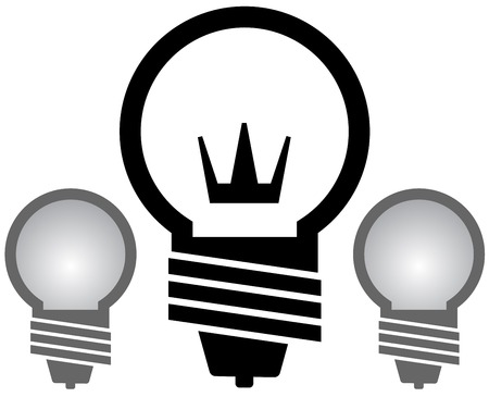 black silhouette light bulb with crown set Vector