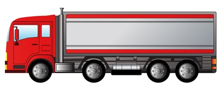 diesel fuel: red isolated modern truck on white background Illustration