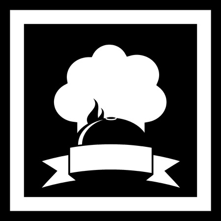 black restaurant symbol with dish and cook hat white silhouette Vector