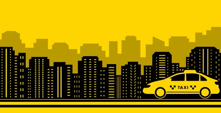 cab: taxi city background with black town and yellow cab