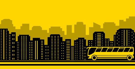suburban: yellow suburban transport background with town and bus Illustration