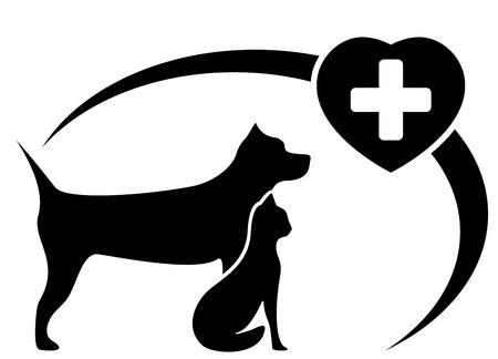 silueta gato: s�mbolo veterinaria negro con el perro y el gato silueta