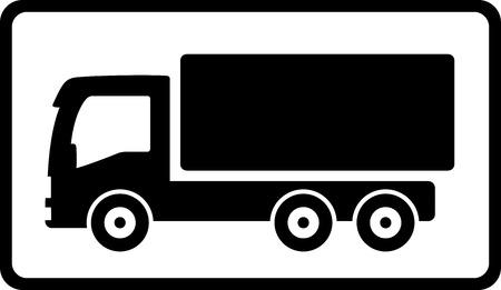 delivery icon with black islolated truck silhouette Illustration