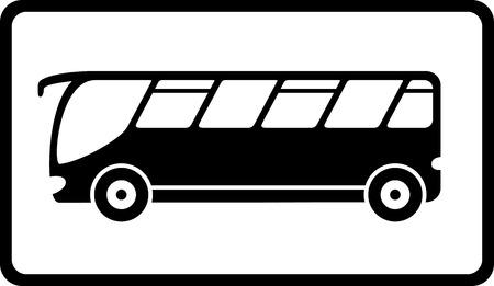 reizen pictogram met zwarte geïsoleerde bus silhouet Stock Illustratie