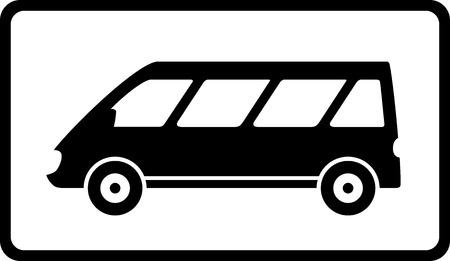 mini bus: transport icon with black mini bus silhouette