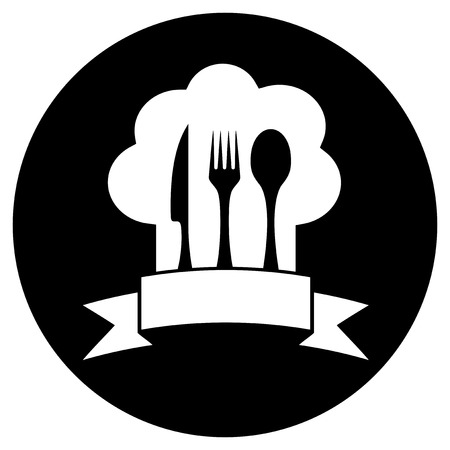black round restaurant icon with cook hat and kitchen utensil Vector