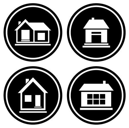 white house: set round icons with white house silhouette