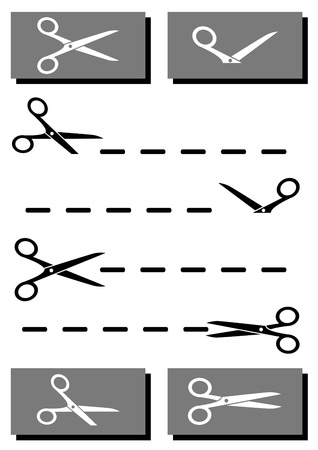 set black and white scissors with coupon and cut line Vector