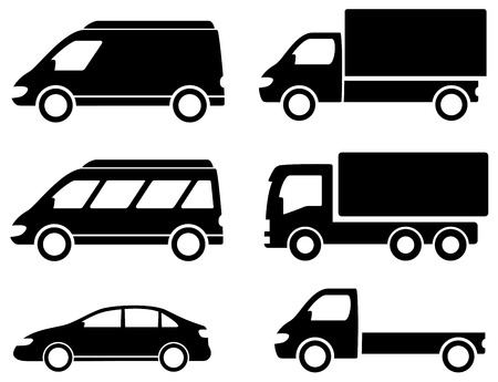black set transport icons on white backdrop Vector