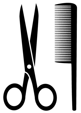 hair brush: isolated comb and scissors black silhouette on white background Illustration