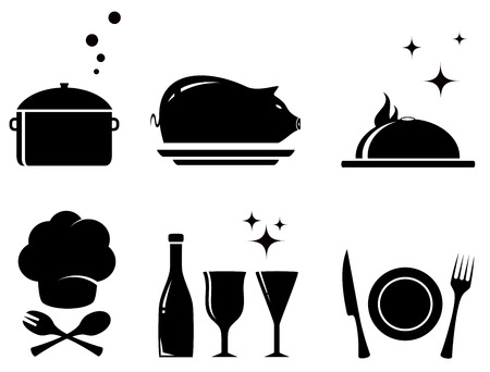 kitchen ware: set black isolated food objects for restaurant services