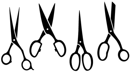black professional: set of black isolated scissors silhouette on white backdrop