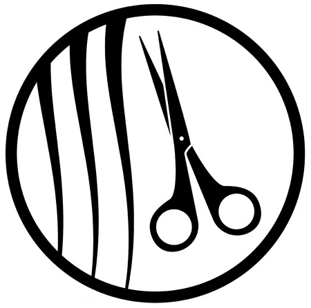 facia: set of black isolated scissors silhouette on white backdrop