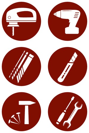 perforator: set red round icons with construction tools Illustration