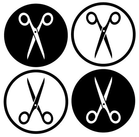 shear: set scissors icon on white and black round background