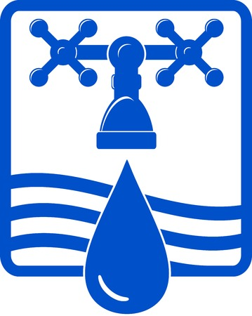 water sanitation: isolated water drop and spigot blue icon