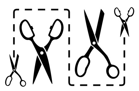 set black dotted line with scissors cut Vector