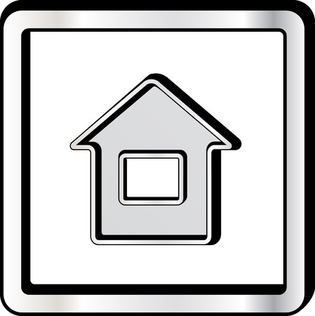 metal frame: convex house style icon on metal frame Illustration